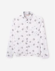 Белая рубашка с принтом для девочки Gloria Jeans