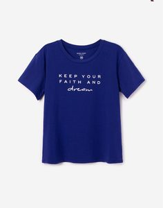 Синяя домашняя футболка с надписями Gloria Jeans