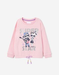 Розовый свитшот с рисунком для девочки Gloria Jeans