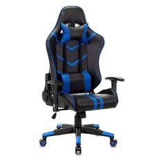 Кресло игровое БЮРОКРАТ CH-789N, на колесиках, искусственная кожа, черный/синий [ch-789n/bl-blue]