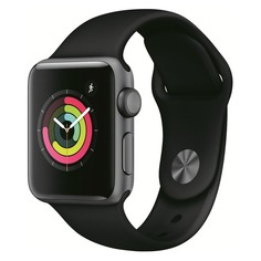 Смарт-часы APPLE Watch Series 3 38мм, темно-серый / черный [mtf02ru/a]