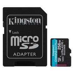 Карта памяти microSDXC UHS-I U3 KINGSTON Canvas Go! Plus 256 ГБ, 170 МБ/с, Class 10, SDCG3/256GB, 1 шт., переходник SD