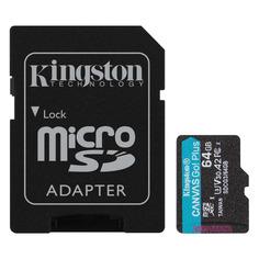 Карта памяти microSDXC UHS-I U3 KINGSTON Canvas Go! Plus 64 ГБ, 170 МБ/с, Class 10, SDCG3/64GB, 1 шт., переходник SD