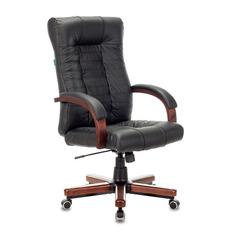 Кресло руководителя БЮРОКРАТ KB-10WALNUT, на колесиках, кожа, черный [kb-10walnut/b/leath]