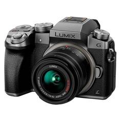 Фотоаппарат PANASONIC Lumix DMC-G7KEE-S kit ( Lumix G Vario 14-42мм/F3.5-5.6 ASPH/Mega O.I.S.), серебристый/ черный