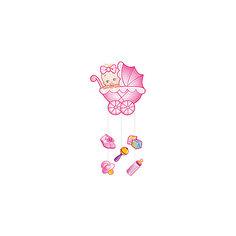 """Подвеска Водолей """"С Днем Рождения, Малыш"""" 75х40 см, розовая Патибум"""