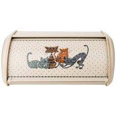 Хлебница из нержавеющей стали Agness Озорные коты 938-050, 35.5х23х14.5 см