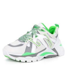 Кроссовки Бело-зеленые кроссовки из комбинированных материалов Ash