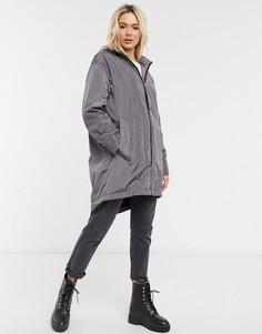 Серая куртка-дождевик с подкладкойиз искусственного мехаASOS DESIGN-Серый