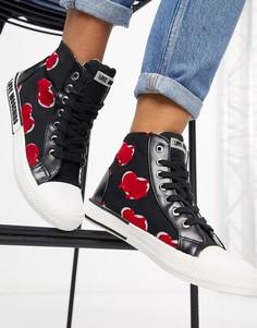 Высокие черные кроссовки с логотипом Love Moschino-Черный