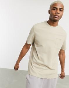 Бежевая футболка с карманом Bershka-Бежевый
