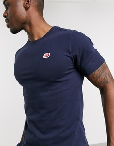 Темно-синяя футболка с логотипом New Balance-Темно-синий