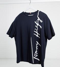 Темно-синяя футболка с большим логотипом Tommy Hilfiger Big and Tall-Темно-синий
