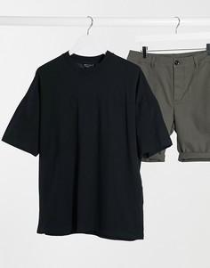 Черная oversize-футболка из пике ASOS DESIGN-Черный
