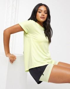 Желтая футболка с плиссировкой adidas-Желтый