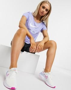 Фиолетовая футболка с логотипом-галочкой Nike Running Just Do It-Фиолетовый