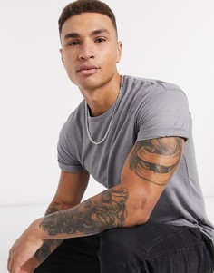 Серая футболка с отворотами на рукавахTopman-Серый