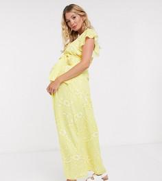 Платье макси лимонного цвета Twisted Wunder Maternity-Желтый