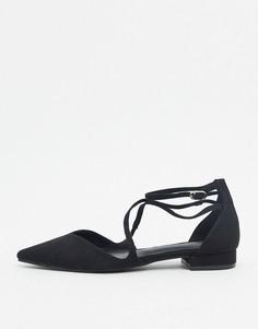 Черные балетки с острым носом ASOS DESIGN-Черный цвет