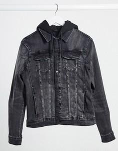 Черная джинсовая куртка обтягивающего кроя River Island-Черный