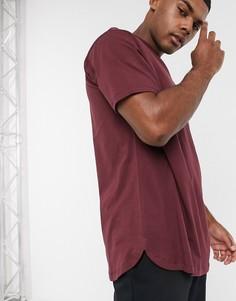 Бордовая свободная футболка с асимметричным краем ASOS DESIGN-Красный