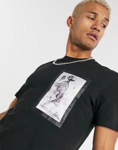 """Черная футболка с принтом """"череп"""" Religion-Черный"""