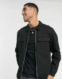 Черная саржевая куртка с 2 карманами Topman-Черный