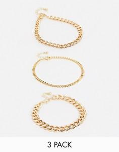 Набор из3 золотистых браслетов-цепочек на ногуASOS DESIGN-Золотой