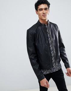 Байкерская куртка из искусственной кожи Jack & Jones-Черный
