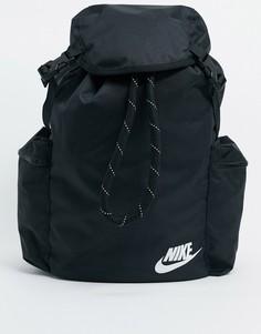 Черный рюкзак с карманом в стиле милитари Nike