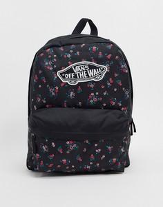 Черный рюкзак с цветочным принтом Vans Realm