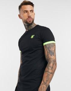 Черная футболка с неоново-желтой отделкой SikSilk-Черный