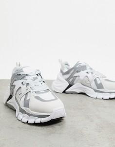 Бело-серебристые кроссовки на массивной подошве ASH-Белый