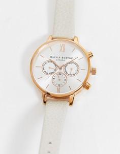 Розово-золотистые часы с хронографоми кожаным ремешком Olivia Burton-Белый