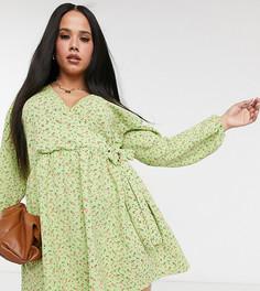 Зеленоеoversized-платьес запахом ASOS DESIGN Curve-Зеленый