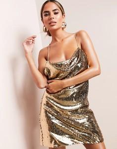 Золотистое платье мини со свободным воротом и пайетками ASOS DESIGN-Золотистый