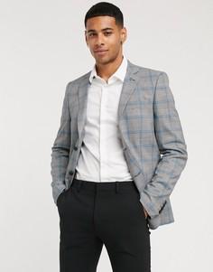 """Приталенный пиджакв клетку """"принц Уэльский""""Avail London-Серый"""