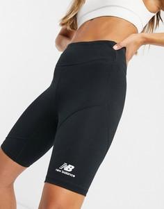 Черные шорты-леггинсы с логотипом металлик New Balance-Черный