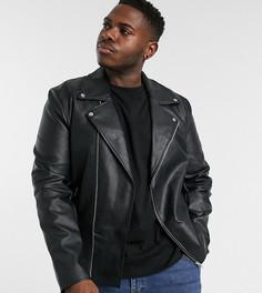 Черная байкерская куртка из искусственной кожи ASOS DESIGN Plus-Черный