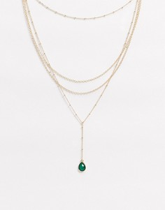 Золотистое ярусное ожерелье с зеленым искусственным камнем ASOS DESIGN-Золотой