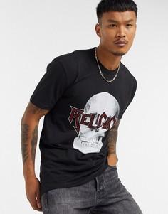Черная футболка с декорированным черепом Religion-Черный