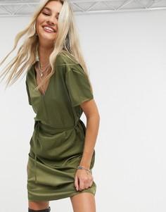 Зеленое платье мини с V-образным вырезом и кружевом Object Eileen-Зеленый