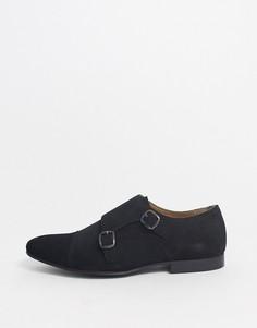 Черные замшевые монки Walk London-Черный