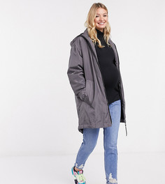 Серая куртка-дождевик с подкладкой из искусственного мехаASOS DESIGN Maternity-Серый