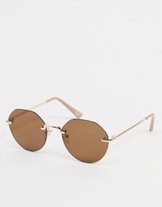 Солнцезащитные очки без оправе с коричневыми стеклами ASOS DESIGN-Золотой