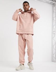 Розовыесвободныефлисовые джоггеры от комплектаASOS DESIGN-Розовый