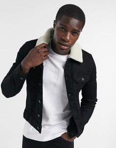 Черная джинсовая курткасворотником из искусственного меха ASOS DESIGN-Черный