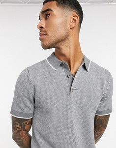 Поло серого цвета Selected Homme-Серый