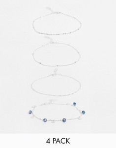 Набориз4 серебристых браслетов-цепочек на ногуAccessorize-Серебряный