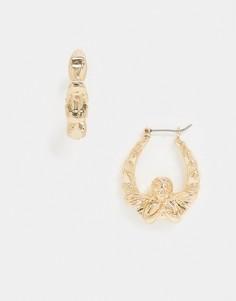 Золотистые серьги-кольцас купидонами ASOS DESIGN-Золотой